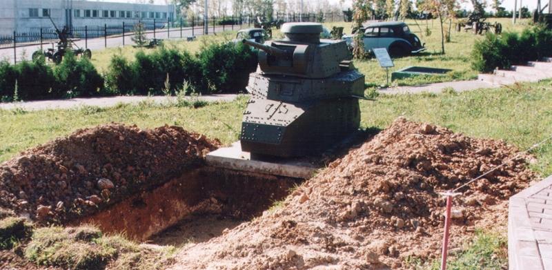 Танк Т-18, подготовка к установке в качестве ДОТа