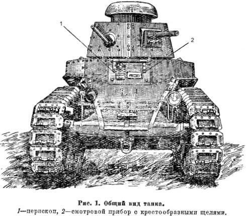 Танк Т-18, рисунок, вид спереди