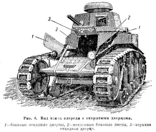 Танк Т-18, вид танка спереди с открытыми дверцами