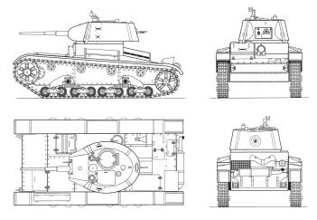 Танк Т-26, масштабный чертёж