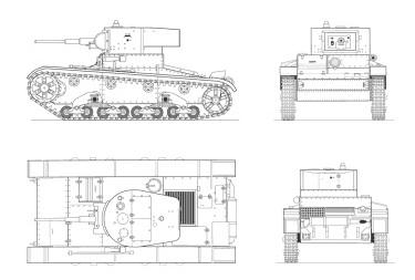 Танк Т-26 с башней от БТ-5, чертёж