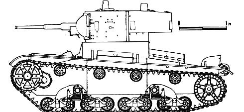 Танк Т-26, чертеж, вид слева