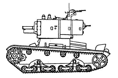 Танк Т-26, чертеж танка с зенитным пулемётом