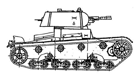 Танк Т-26, чертеж огнемётного танка, вид справа