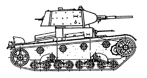 Танк Т-26, чертеж, вид справа