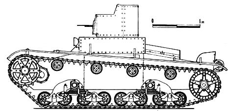 Танк Т-26, вид слева на чертеже