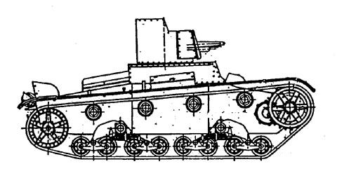 Танк Т-26, чертеж ходовой части, вид справа