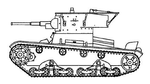 Танк Т-26, чертеж ходовой части, вид слева