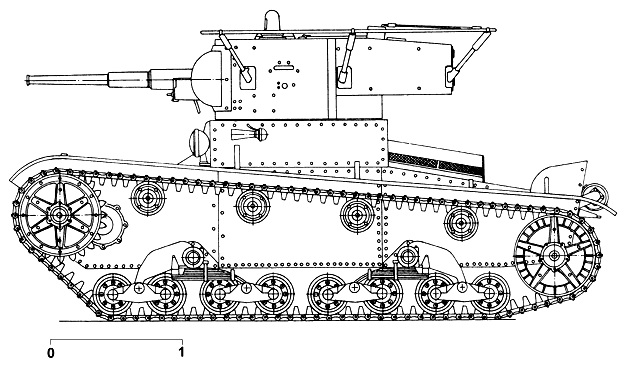 Танк Т-26, чертеж башни с антенной