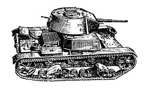 Танк Т-26, рисунок, вид справа