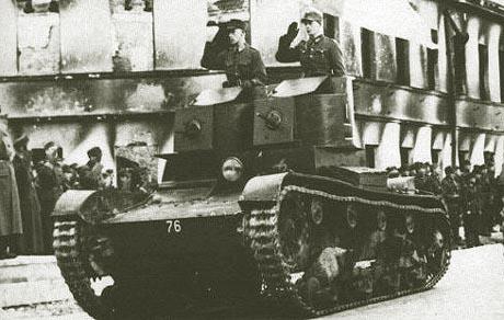 Танк Т-26 в городе
