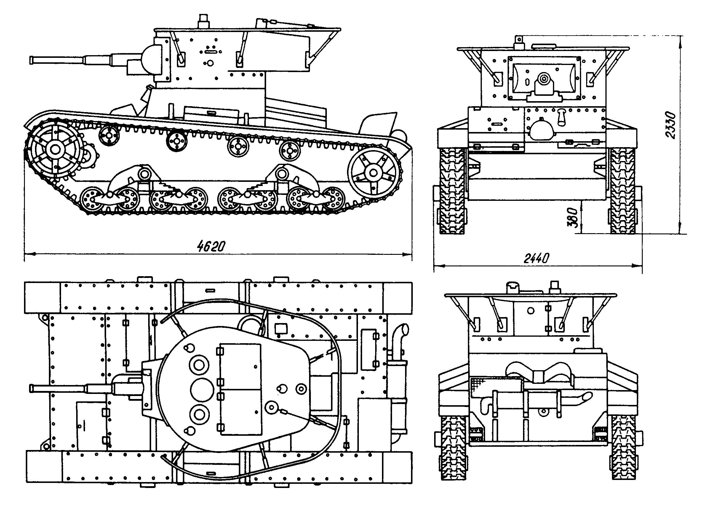 Танк Т-26, чертёж командирского танка