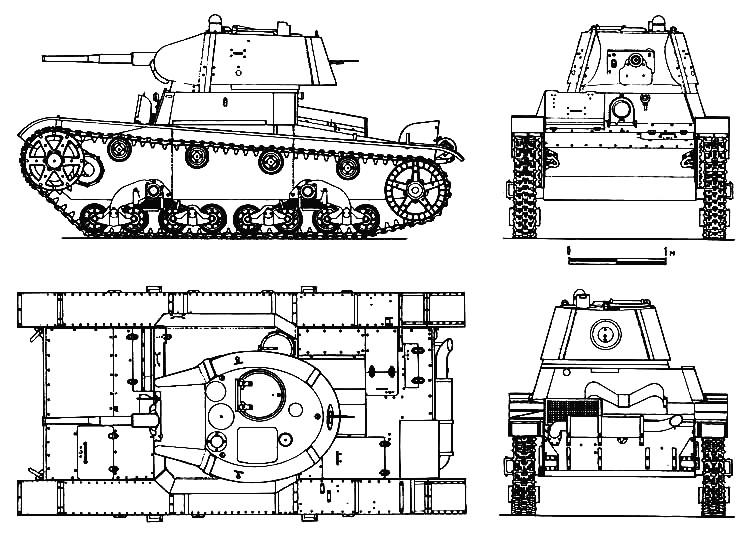 Танк Т-26, чертёж