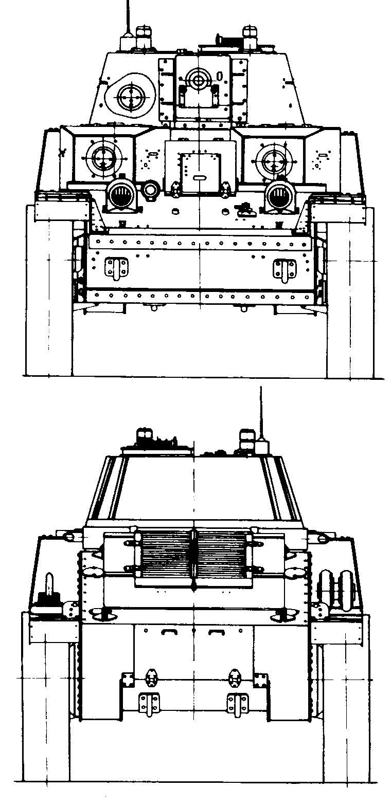 Танк Т-28, чертёж, вид спереди и сзади