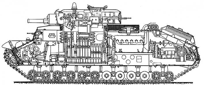 Танк Т-28 в разрезе, внутренняя компоновка