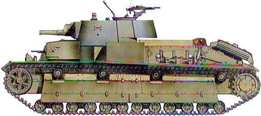 Танк Т-28, схема окраски, вид сбоку