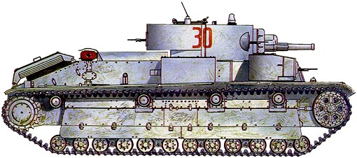 Танк Т-28, зимняя окраска, вид справа