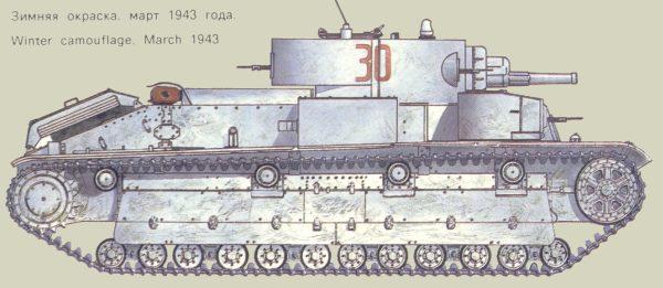 Танк Т-28, зимняя окраска, март 1943 года