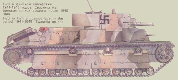Танк Т-28 в финском камуфляже 1941-1945 годов