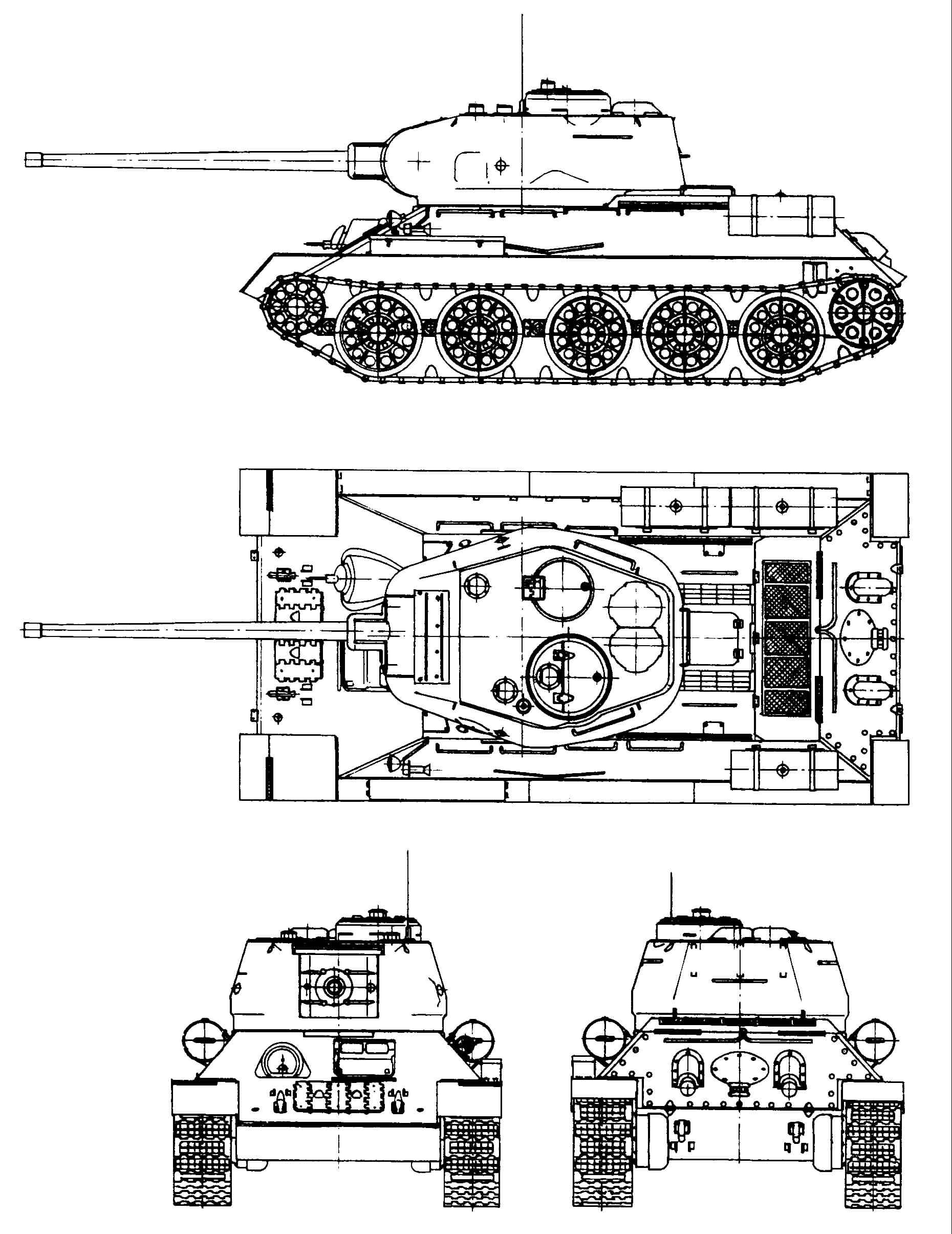 Танк Т-34/85, чертеж танка