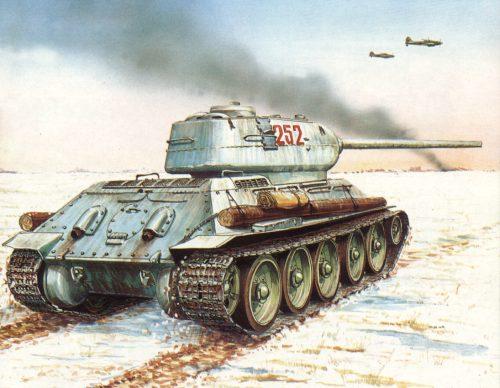 Танк Т-34/85, рисунок в зимней окраске