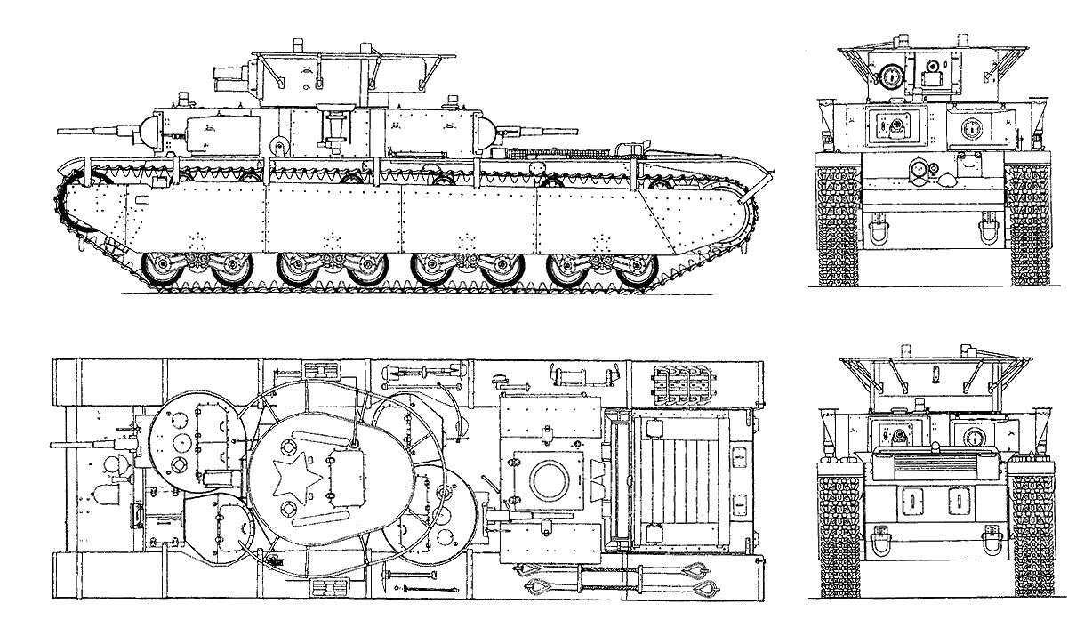 Танк Т-35, чертёж