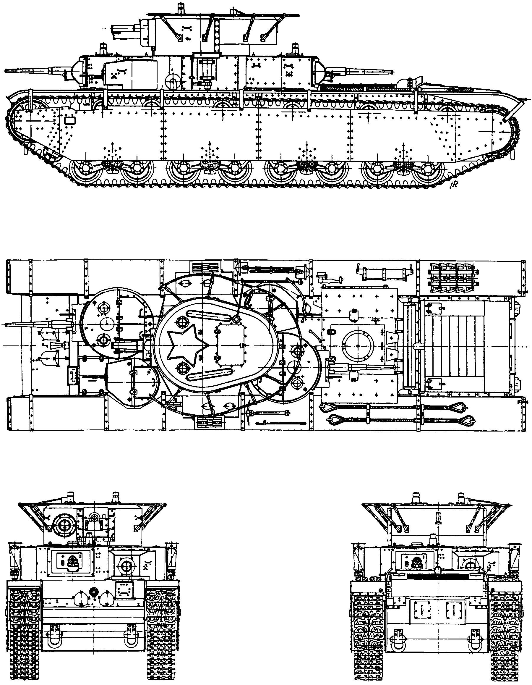 Танк Т-35, чертеж командирского танка