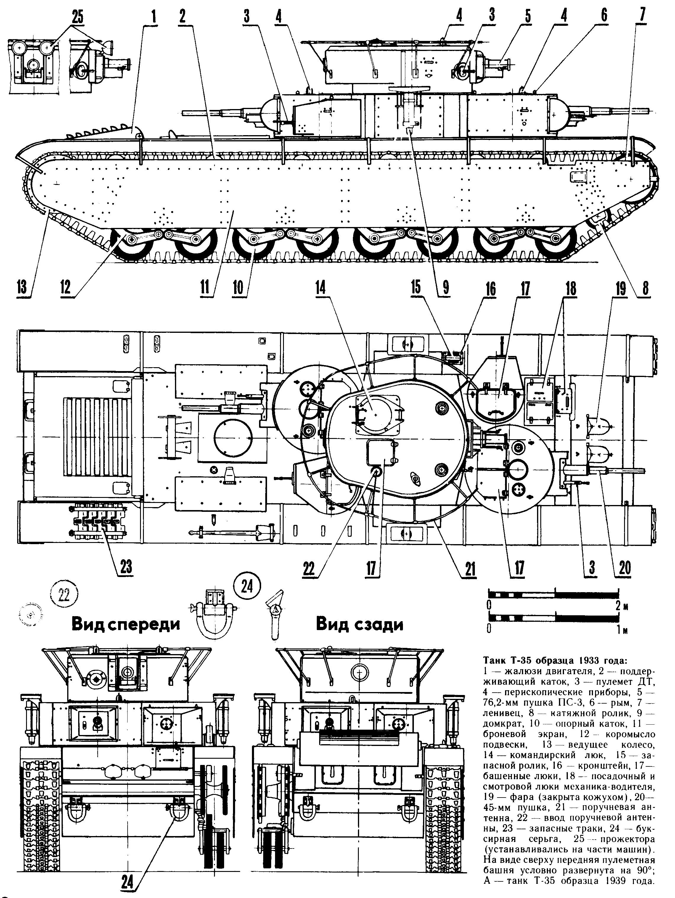Танк Т-35, чертёж танка