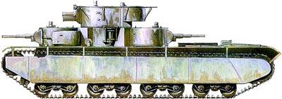 Танк Т-35 в зимней окраске
