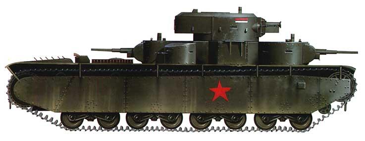 Танк Т-35, схема окраски, вид справа