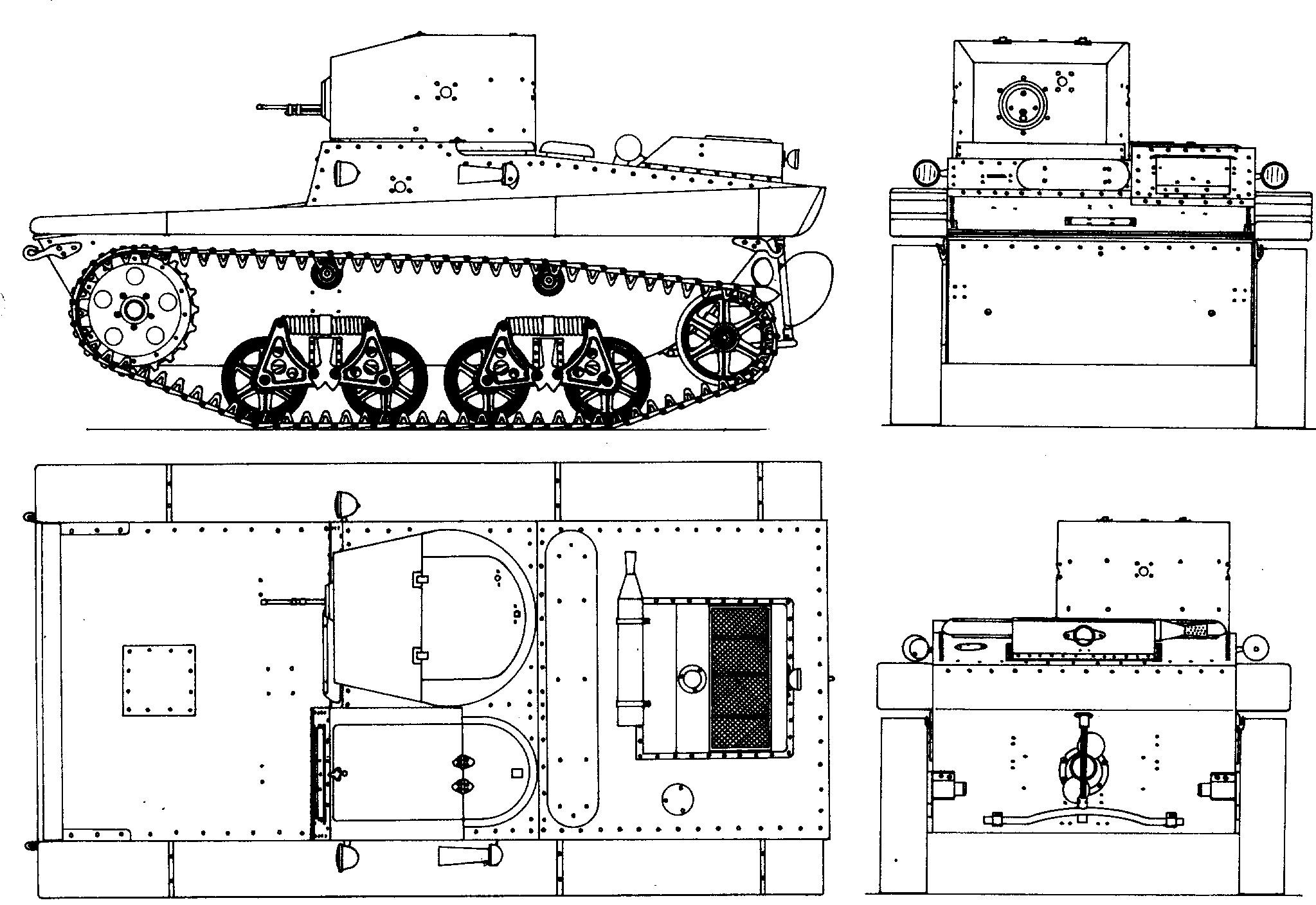 Танк Т-37, чертёж