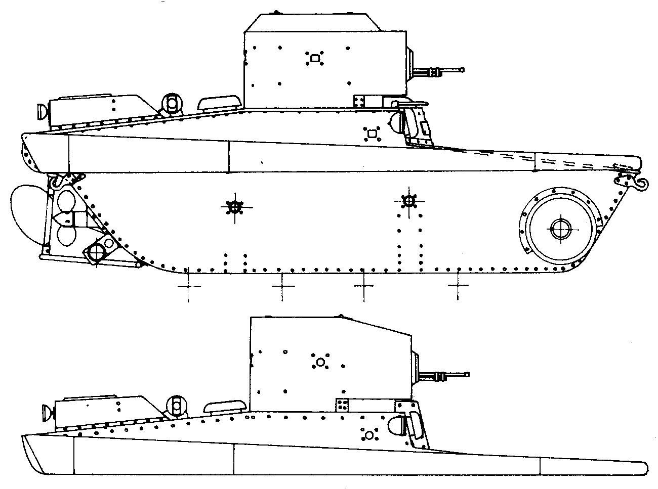 Танк Т-37, чертеж корпуса танка