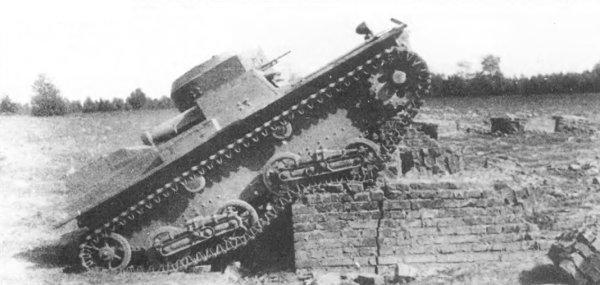 Танк Т-38, преодоление препятствия