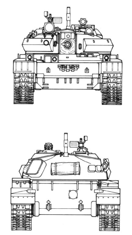 Танк Т-44, чертёж, вид спереди, сзади
