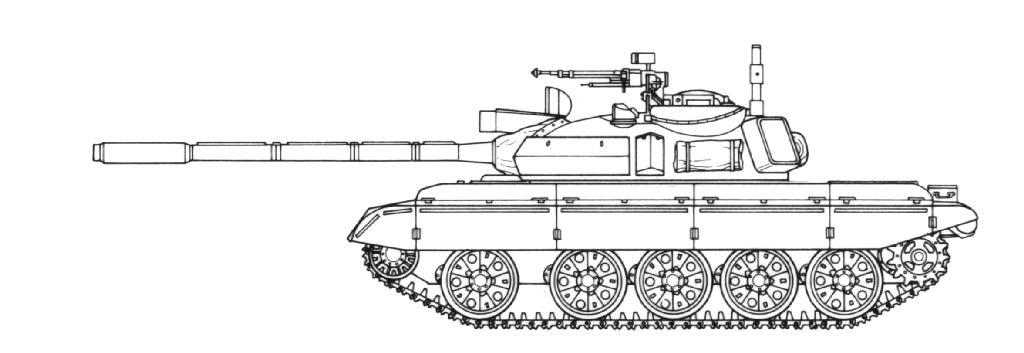 Танк Т-44, чертеж, вид слева