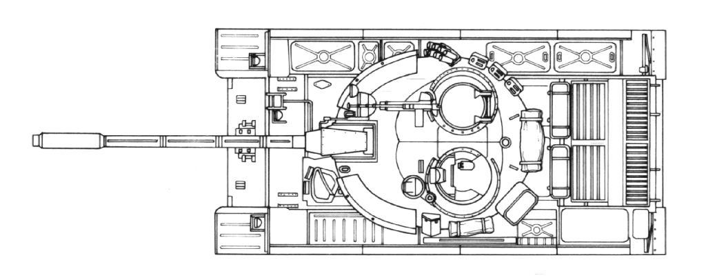Танк Т-44, чертеж, вид сверху